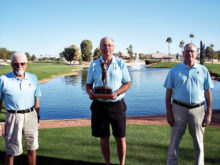 2021 Ironwood Cup Winner Ted Osborne (trophy presented by IMGA President Bob Clark and Tournament Director Dan Smith)