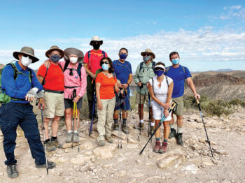 Club hikers enjoying the Boulder Canyon Trail; back row (left to right): Scott Downey, Ron Deraas, Joan Carlisle, Paul Feeney, David Coffman, Tim Donovan, and Steve Collier; front row (left to right): Fabiola Scotto and Shaun Collier (Photo by Tom Scotto)