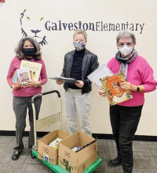 Left to right: School Principal Annette Addair, Ellie Watland, and Judi Edmonds (Photo taken at Galveston Elementary School)
