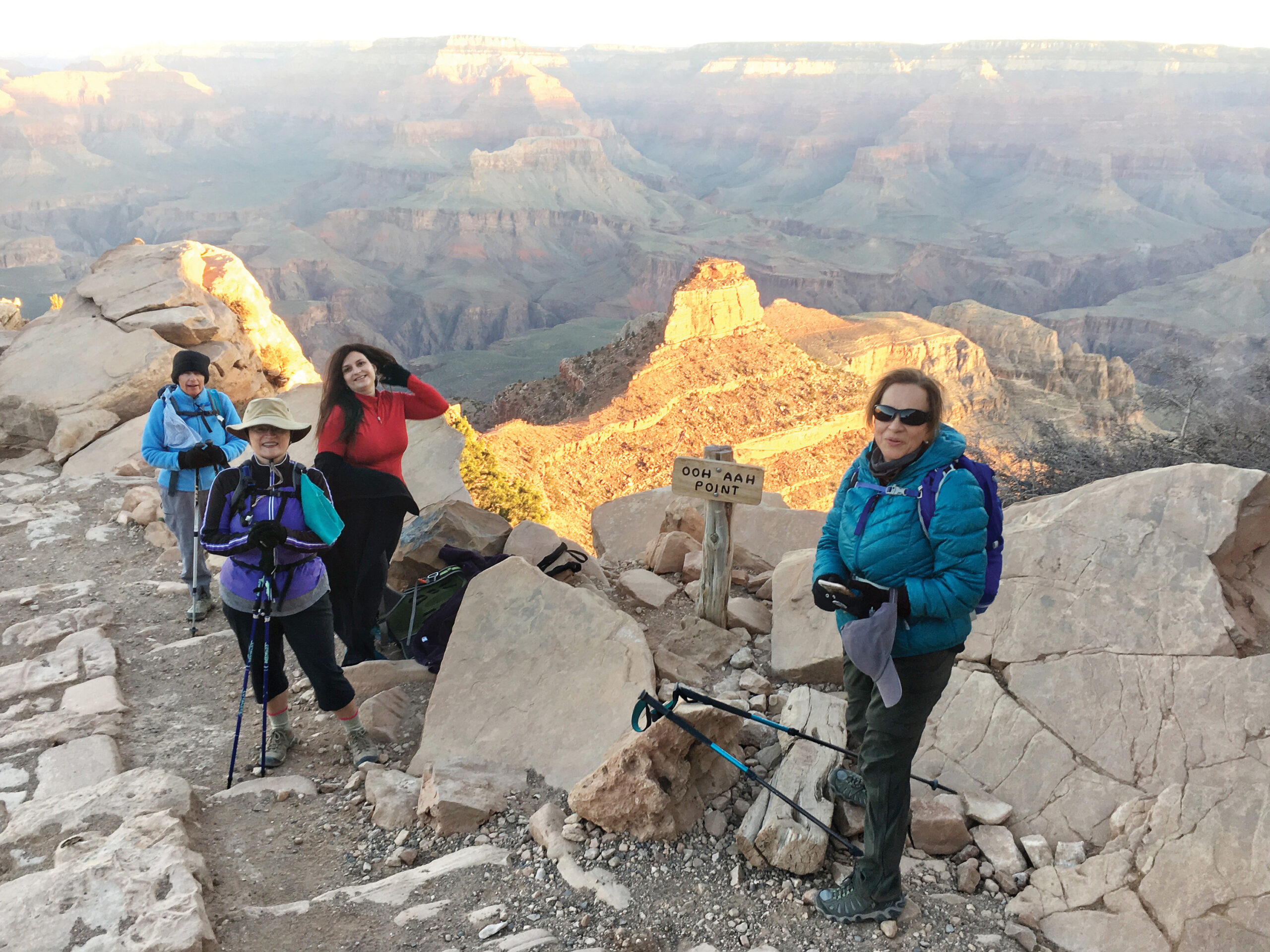 Ooh Aah Point at the Grand Canyon. Pictured (left to right) are club members DeEtte Faith, Tracy Nilsen, Melanie Hudson, and Rocio Smith. (Photo by Warren Wasescha)
