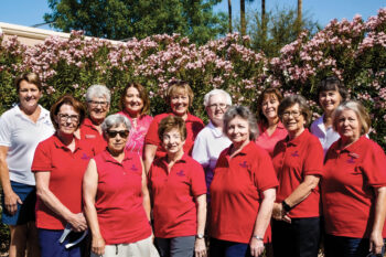 The ladies in the photo represent four elected executive board members and 10 appointed standing chairpersons. Back row: Deb Burns, Vicki Mendenhall, Deborah Greenwood, Suevonne Negaard, Rachel Enloe, Beth Zdeblick, Janis Gustafson; front row: Carol Knack, Ann Gavins, President Judy Thompson, Deb Poropat, Holly Toms, Shirley Moore, and Lynn Matassarin (absent)