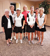 Left to right: Ginger Mayes, Eden Carter, Sue Lawless, Jackie Smith (club champion), Susan Utzinger, Kathleen Gardner (most improved), Lisa Mohoric. Our big winners! Includes club champion, most improved, and 2020 and 2021 State Medallion teams.