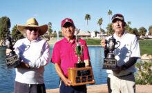2021 IMGA Club Champions (left to right): Dave Pelz (Super Seniors 75), Peter Yoon (Club Champion), and Don Noble (Super Seniors 80)