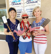 Carol Mellinger, Betty Sanders, and Judy Gahide are ready to flip pancakes!