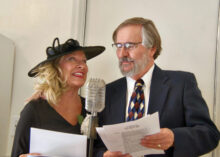 Sally Holberg as Blanche and Jim Nielsen as John Bickerson rehearse for the upcoming Sun Lakes Community Theatre's production of An Evening of Old Time Radio.