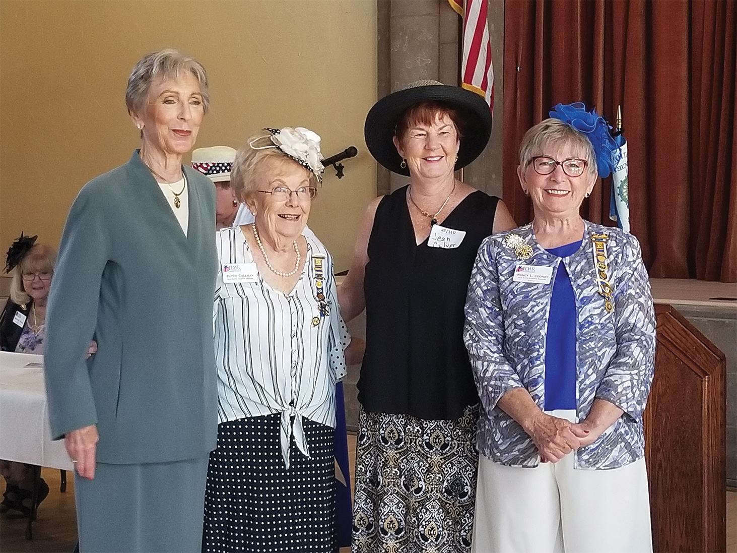 Our newest members sworn in today (left to right): Jean Milberger; Pattie Colman, chaplain; Jean Culver; and Regent Nancy Cooney