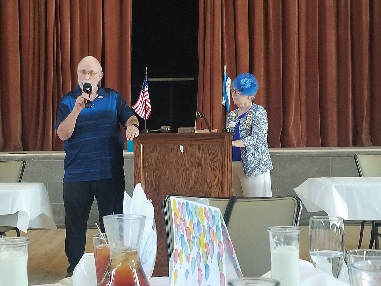 """Korean War Veteran Leon """"Skip"""" Johnson shared stories of his service as regent while Nancy Cooney looks on. Mick Tucker, Richard Volpe, and Francis Smith also shared stories of their service with our members."""