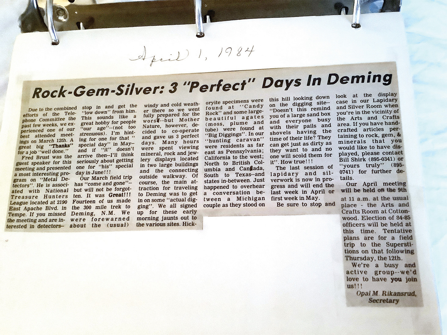 Great article written by Opal M. Rickensrud in the 'Splash' in April, 1984.